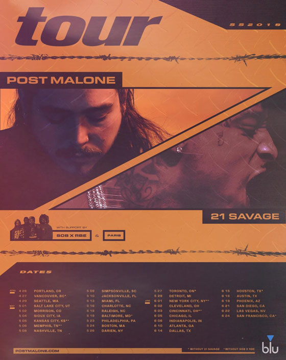 Post Malone, 21 Savage announce Raleigh show