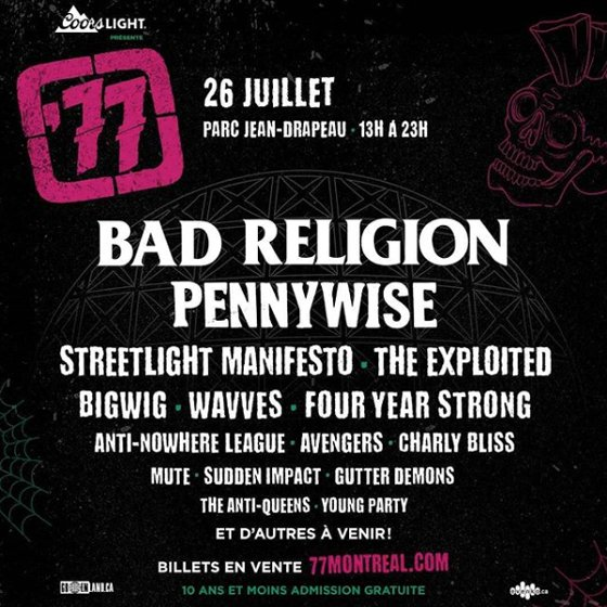 '77 Montreal Reveals 2019 Lineup with Bad Religion, Pennywise, Streetlight Manifesto