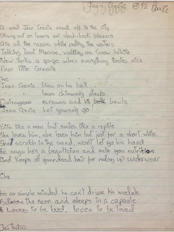 """David Bowie's Handwritten """"The Jean Genie"""" Lyrics Head to Auction"""