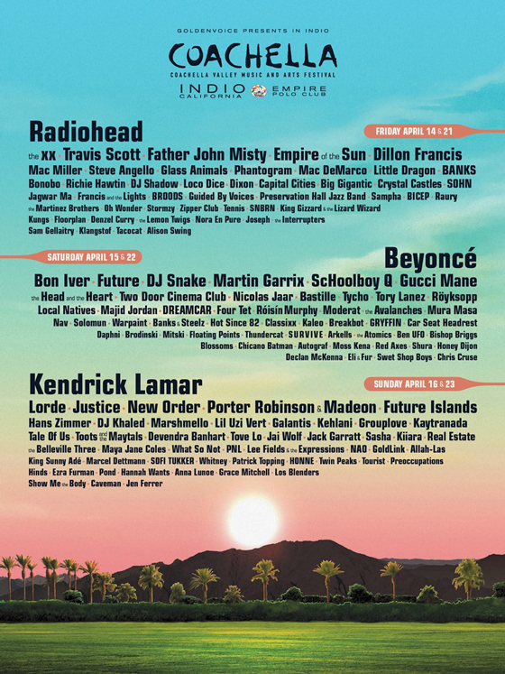 Coachella Announces 2017 Lineup, Confirms Radiohead, Beyoncé, Kendrick Lamar