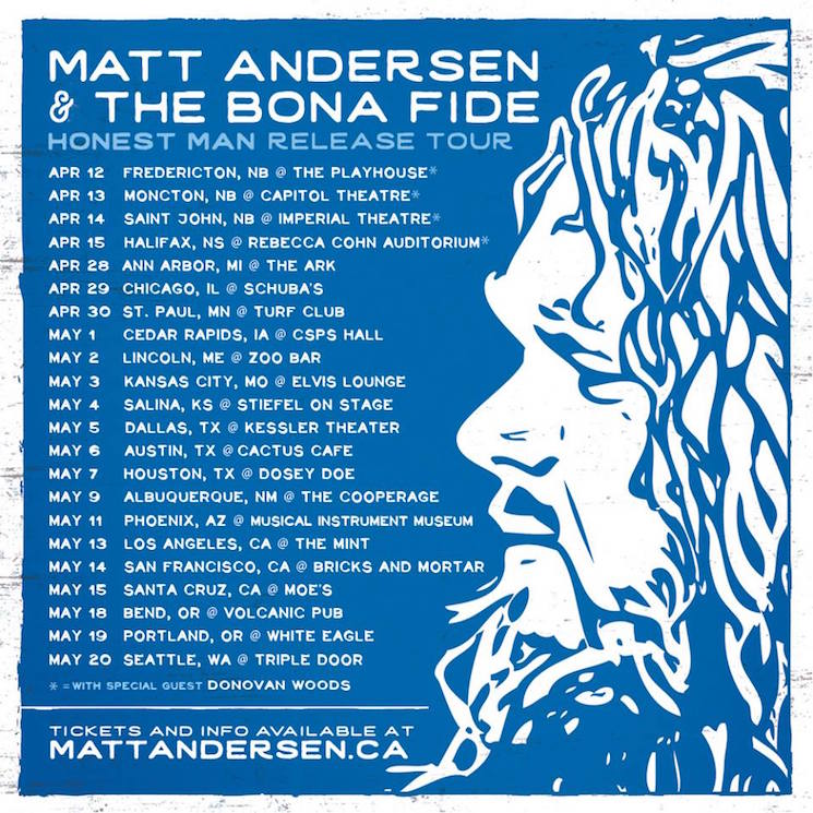 Matt Andersen Expands North American Tour, Wins Maple Blues Award