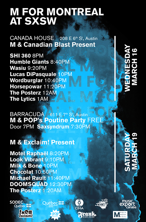 M for Montreal Gets DOOMSQUAD, Michael Rault, the Posterz for SXSW Showcases