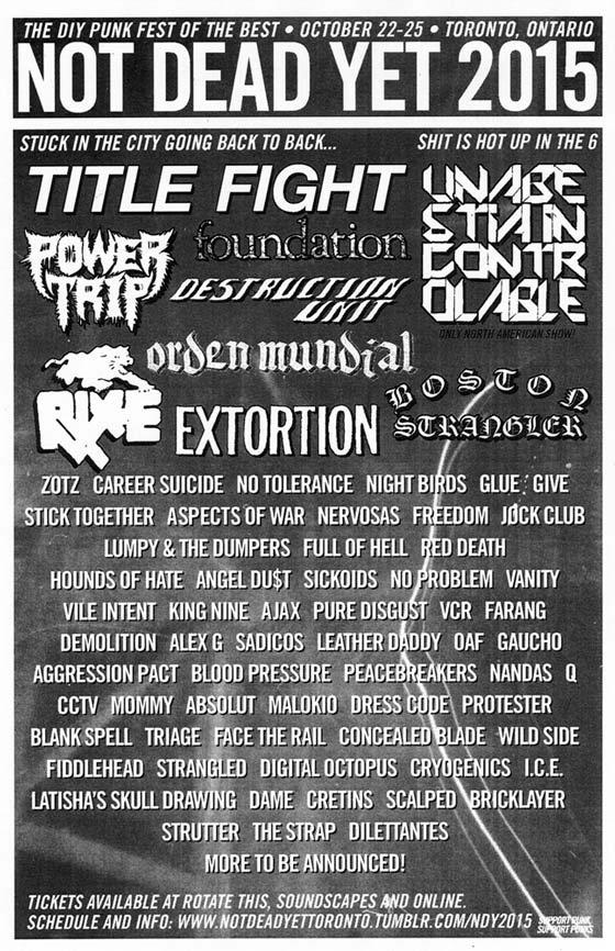 Not Dead Yet Fest Expands 2015 Lineup