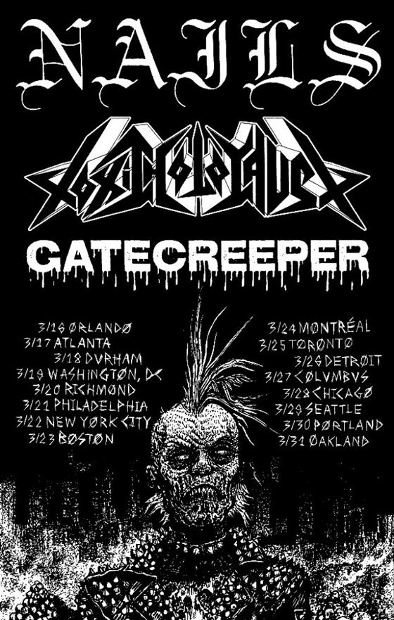 Nails Plot North American Tour with Toxic Holocaust and Gatecreeper
