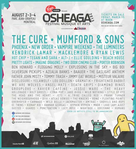 Osheaga Unveils 2013 Lineup with the Cure, Phoenix, New Order, Kendrick Lamar