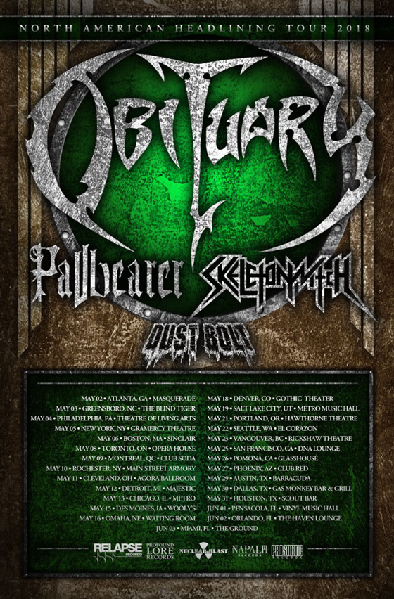 Obituary Get Pallbearer, Skeletonwitch and Dust Bolt for North American Tour