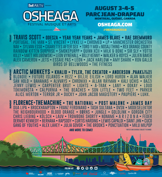 Here's the 2018 Osheaga Lineup