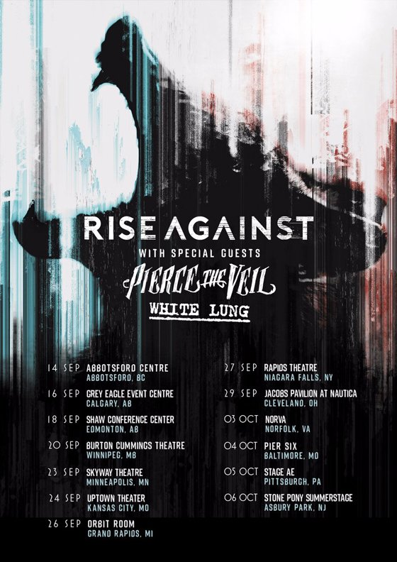 Rise Against Plot Fall Tour with Pierce the Veil, White Lung