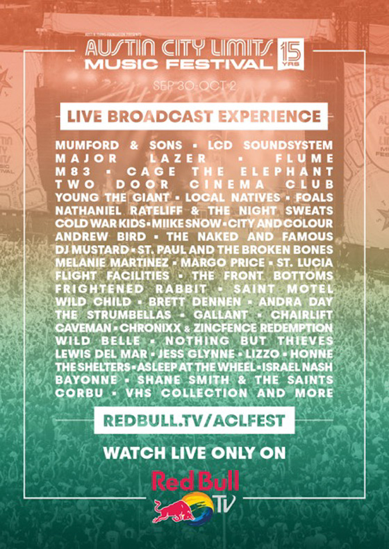 Watch Red Bull TV's Austin City Limits Music Festival 2016 Live Stream