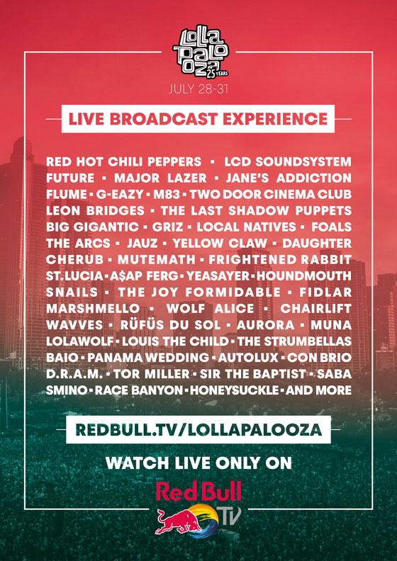 Watch Red Bull TV's Lollapalooza 2016 Livestream