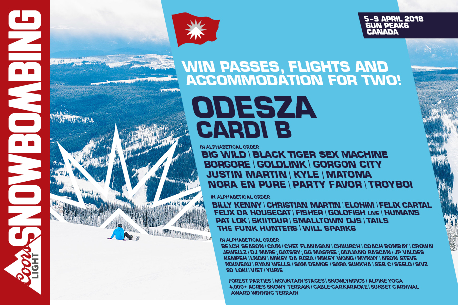 Coors Light Snowbombing Canada - Win a trip to see Cardi B and ODESZA!