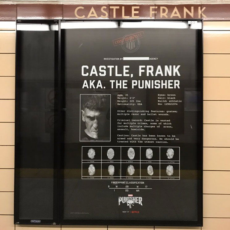 'Punisher' Frank Castle Has Been Plastered All Over Toronto's Castle Frank Subway Station