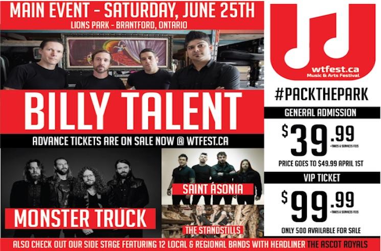 Brantford's WTFest Gets Billy Talent, Monster Truck, Saint Asonia