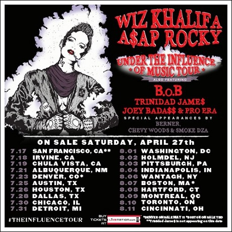 "Wiz Khalifa and A$AP Rocky Announce ""Under the Influence of Music"" Tour with Joey Bada$$, Trinidad James, B.o.B"