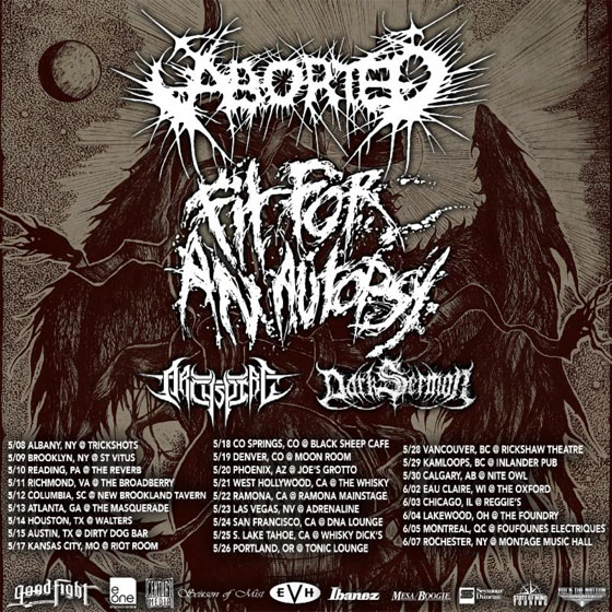 Aborted and Fit for an Autopsy Team Up for North American Tour