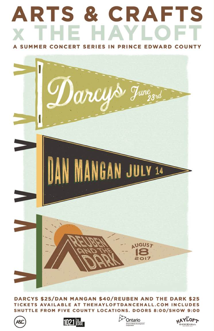 ​Dan Mangan, Darcys, and Reuben and the Dark to Play Arts & Crafts' Summer Concert Series in Prince Edward County