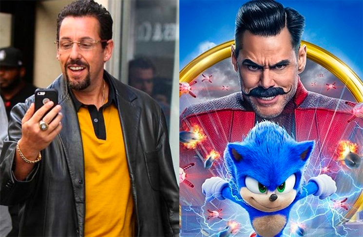 Adam Sandler Phoned Jim Carrey to Congratulate Him on 'Sonic' While He Was Still in the Theatre Watching It