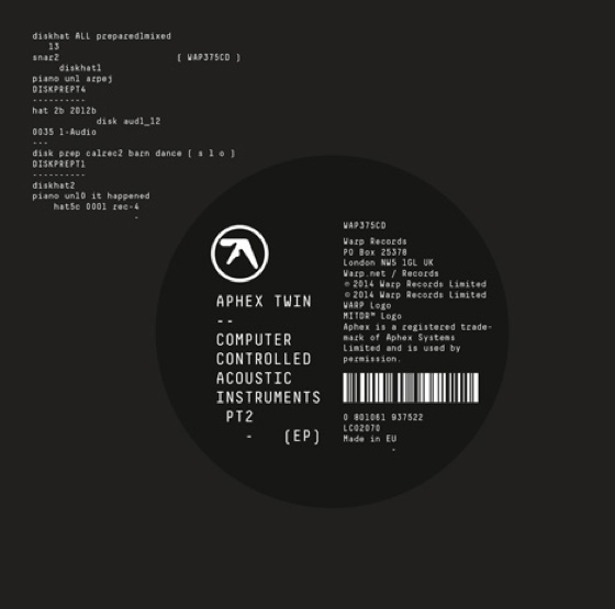 Aphex Twin 'Computer Controlled Acoustic Instruments Pt2' (EP stream)