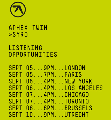 Aphex Twin Reveals Plans for 'Syro' Listening Parties