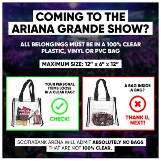 ​Here's a Reminder About Ariana Grande's Bag Policy at Toronto's Scotiabank Arena