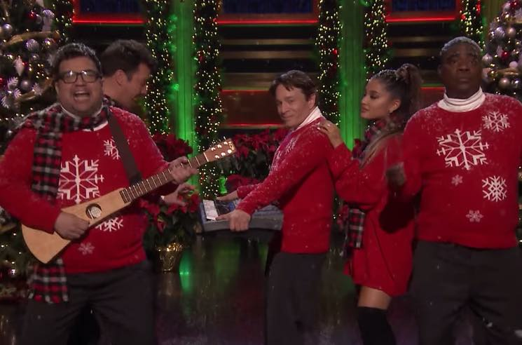 ​Ariana Grande Joins Jimmy Fallon, Tracy Morgan, Chris Kattan and Horatio Sanz for 'I Wish It Was Christmas Today'