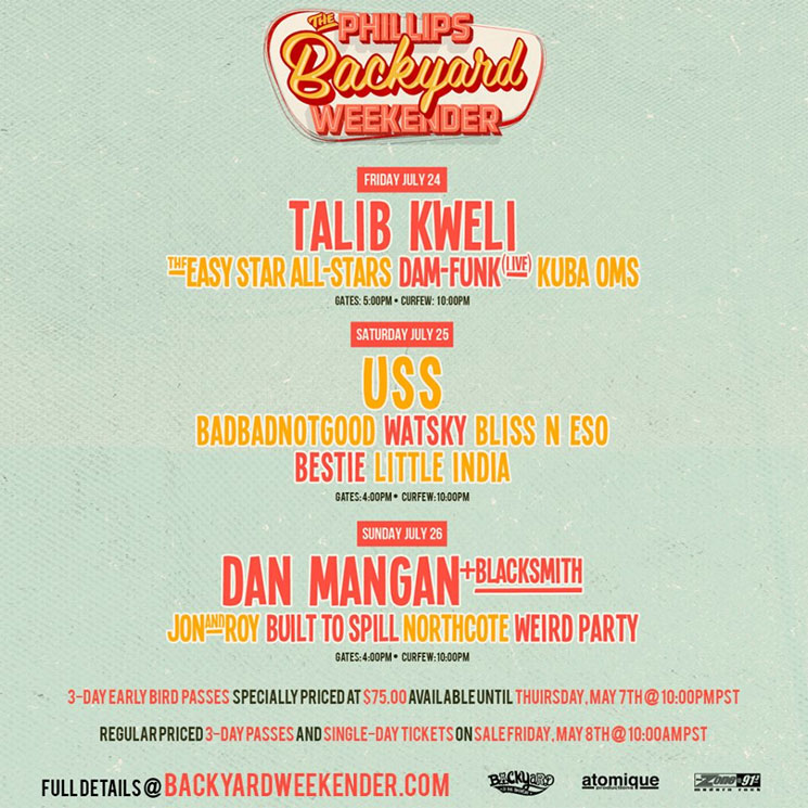 BADBADNOTGOOD, Dan Mangan, Talib Kweli to Play Phillips Backyard Weekender