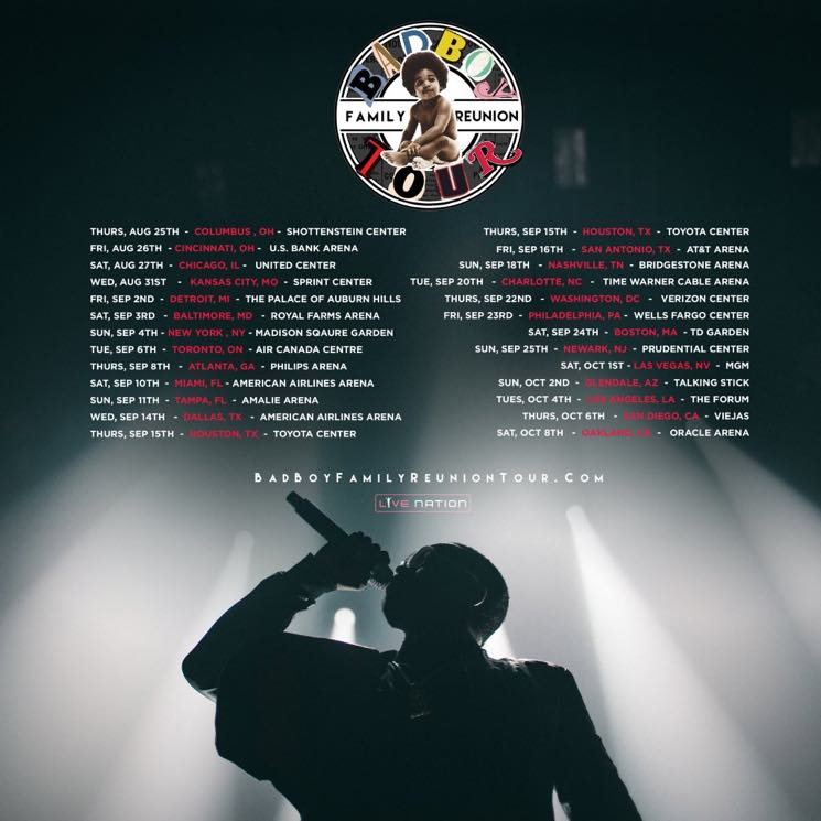 "​Bad Boy Announces ""Family Reunion"" Tour with Puff Daddy, Lil' Kim, Ma$e, Faith Evans"