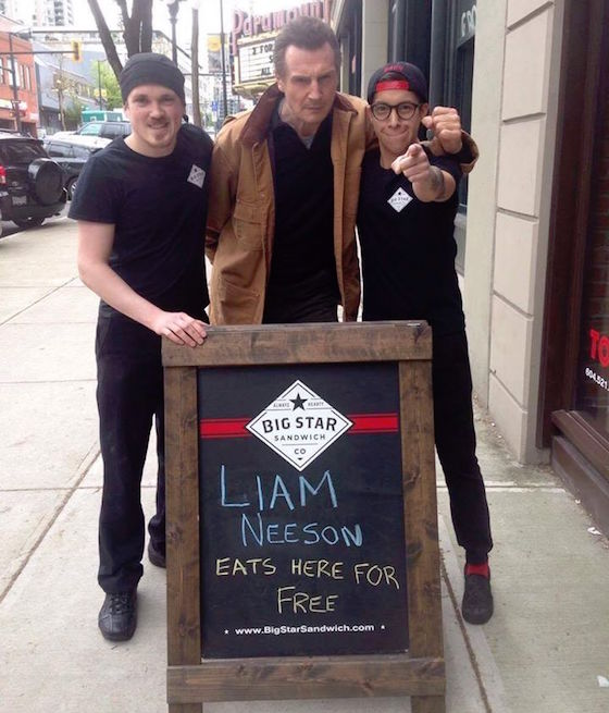 Liam Neeson Stopped at a New Westminster Sandwich Shop to Demand a Free Sandwich