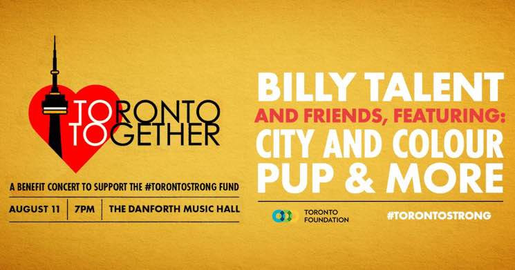 ​Billy Talent, City and Colour, PUP to Perform at Danforth Shooting Benefit Show