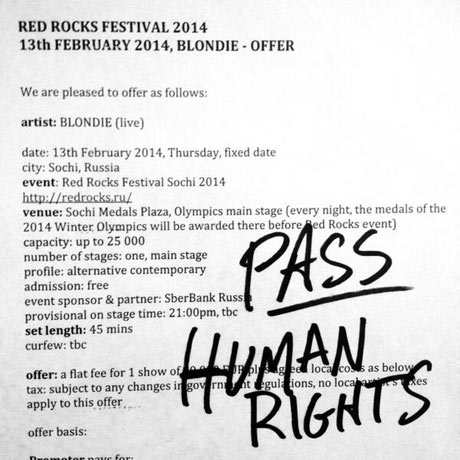 "Blondie Pass on Sochi Olympics Performance Offer, Cite ""Human Rights"""