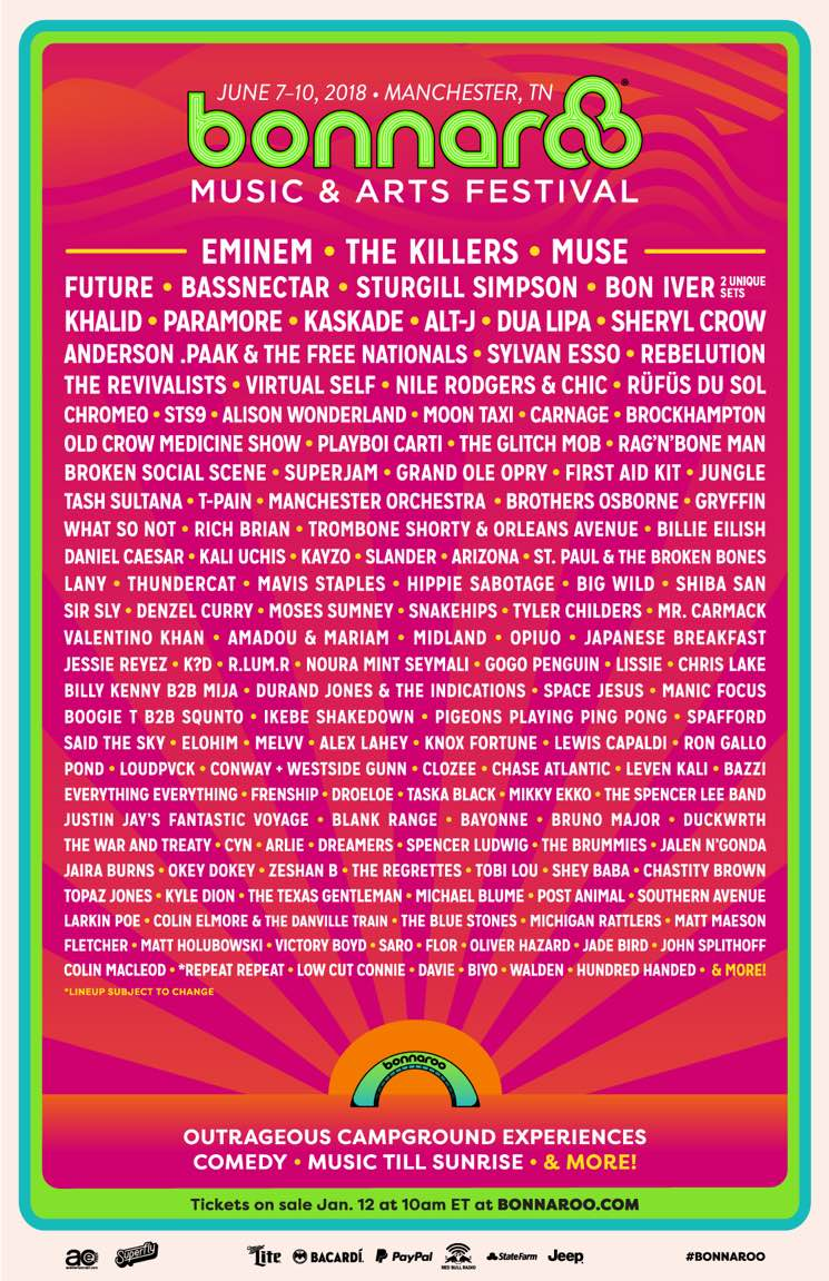 Bonnaroo Announces 2018 Lineup with ​Eminem, the Killers, Muse