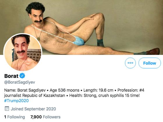 Borat Is on Twitter Now