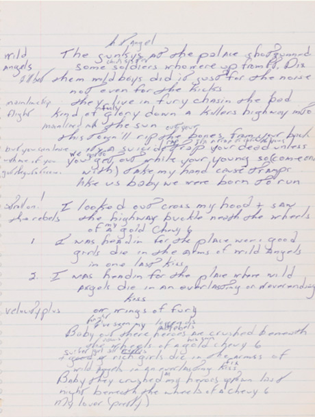 "Bruce Springsteen's Handwritten ""Born to Run"" Lyrics up for Auction"