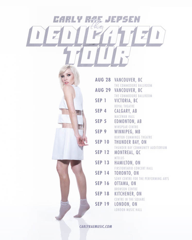 "​Carly Rae Jepsen Plots Canadian Leg of ""The Dedicated Tour"""