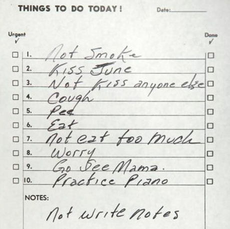 """Cough,"" ""Eat,"" ""Pee"" — Johnny Cash To-Do List Unearthed"