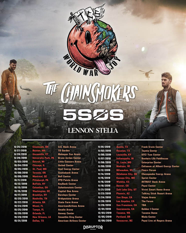 "The Chainsmokers Announce ""World War Joy"" Tour"