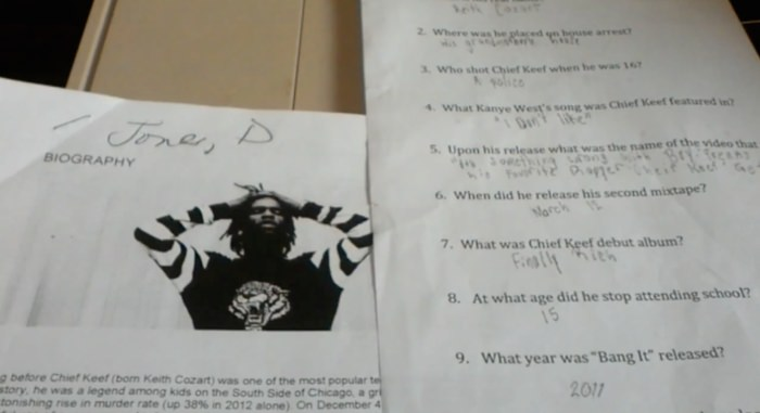 Teacher Under Fire for Giving 6th Graders a Pop Quiz on Chief Keef