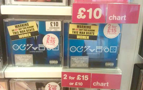 "Chris Brown Albums Defaced with ""This Man Beats Women"" Stickers"