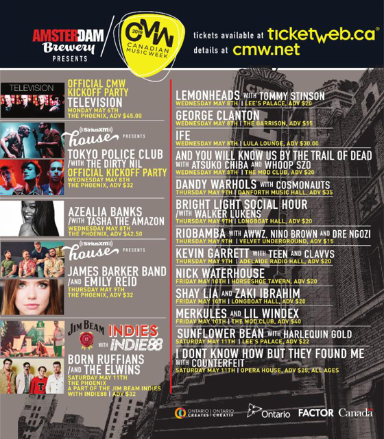 CMW Reveals Initial 2019 Lineup with Azealia Banks, Television, James Barker Band