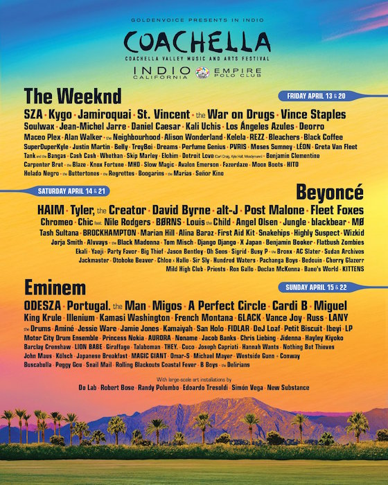 Beyoncé, the Weeknd and Eminem Set to Headline Coachella 2018