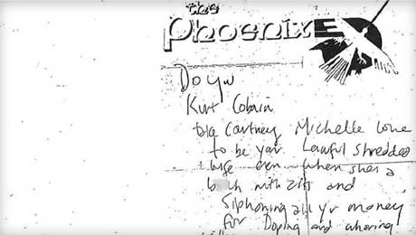 Kurt Cobain's Death-Scene Note to Courtney Love Revealed