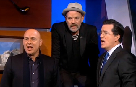 Michael Stipe, Brian Eno & Stephen Colbert 'Lean on Me' (live on 'Colbert Report')