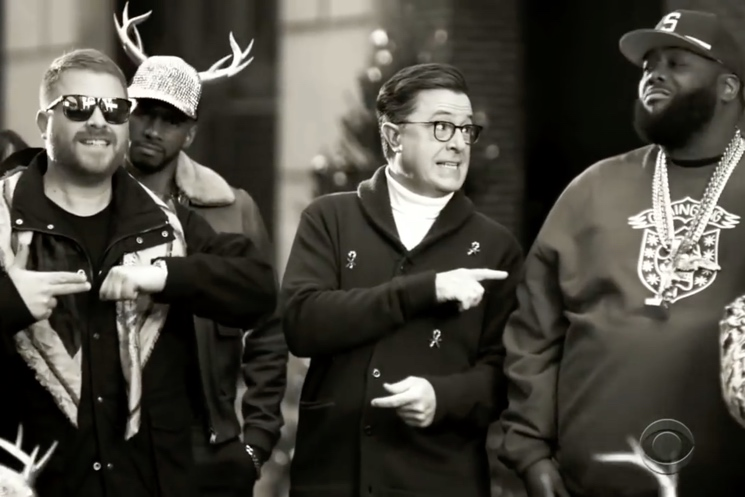 "Watch Run the Jewels Team Up with Stephen Colbert for ""Jingle Jangle (Santa Party)"""