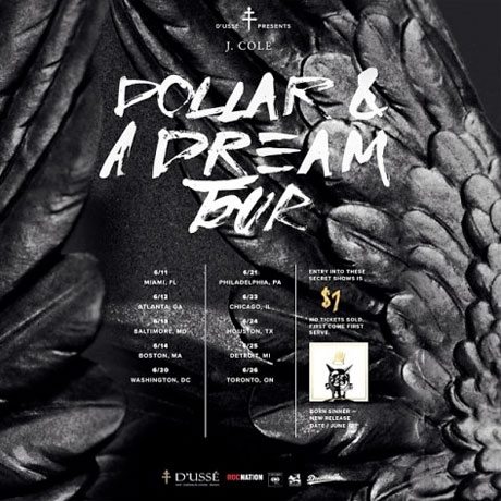 "J. Cole Reveals ""Dollar & A Dream Tour,"" Promises Secret Show in Toronto"