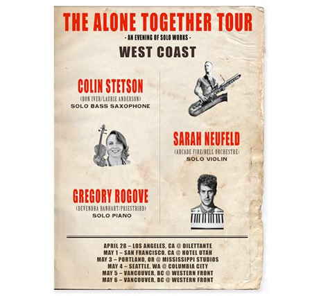 "Colin Stetson Announces ""The Alone Together Tour"" with Arcade Fire's Sarah Neufeld"