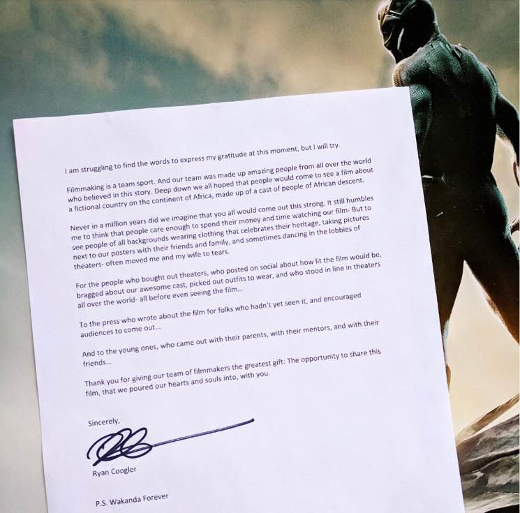 'Black Panther' Director Ryan Coogler Thanks Moviegoers in Heartfelt Letter