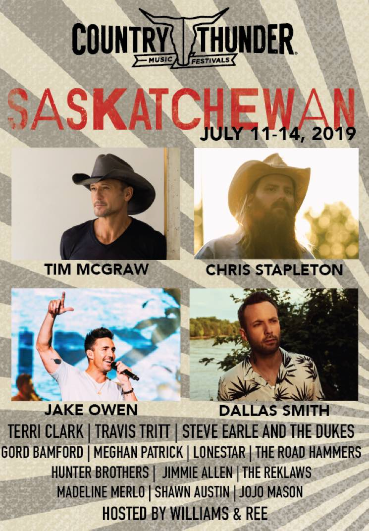 Saskatchewan's Country Thunder Festival 2019 Gets Dallas Smith, Tim McGraw, Chris Stapleton
