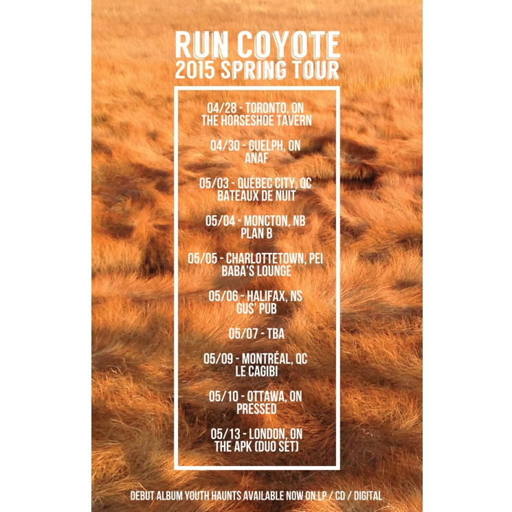 Run Coyote Book Canadian Spring Tour