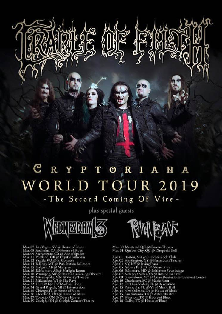 "​Cradle of Filth Announce North American Dates on ""Cryptoriana World Tour"""