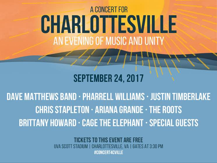 ​Dave Matthews Band Tap Pharrell, Justin Timberlake, Ariana Grande for Charlottesville Benefit Show